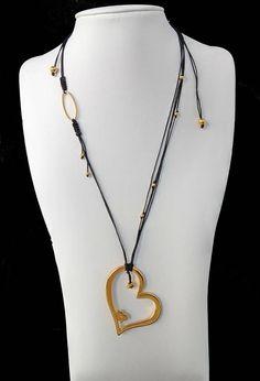 Valentine's Golden Heart Multi strand Necklace