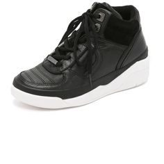 DKNY Connie High Top Sneakers (275 CAD) ❤ liked on Polyvore featuring shoes, sneakers, black, black sneakers, leather shoes, lace up sneakers, black high top sneakers and black high top shoes