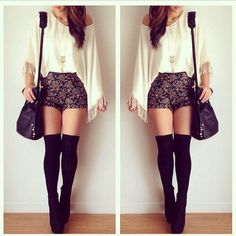 high waisted shorts + knee high socks