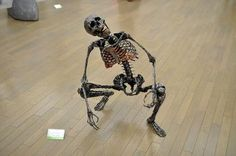 "This scrap-metal skeleton sculpture, ""Jibetarian,"" is on display at the National Art Center in Tokyo"