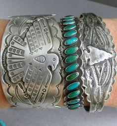 Old Fred Harvey Era Arrows Turquoise Navajo Row Early 30's Cuff Bracelet | eBay