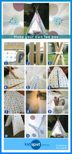 Make your own tee pee tents and keep the kids entertained, reading, relaxing and enjoying the peace in their tents. Tee pee tents are gorgeous and fun. Diy Tipi, Diy Teepee Tent, Diy For Kids, Crafts For Kids, Craft Projects, Projects To Try, Make Your Own, Make It Yourself, Kids Tents