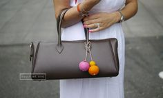 Hermes Paris Bombay 27cm Epsom in Chocolate color accompany by homemade pompom.