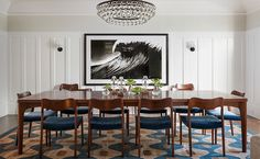 Dining Room // Lauren Nelson Design // Presidio Heights Home Dining Room Table, Table And Chairs, Dining Chairs, Dining Rooms, Retro Stil, Mid Century Modern Furniture, Antique Furniture, Room Rugs, Designer