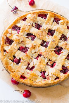 """Here is my recipe for Sweet Cherry Pie with Toasted Almonds. My friend exclaimed, """"this is the best pie I've ever had!"""""""