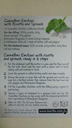 Barilla's Cannelloni Emiliani with Ricotta & Spinach