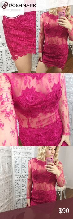 """🎀PINK LACE COCKTAIL PROM WEDDING MINI DRESS GOWN Super sexy lace! Used once. Gorgeous detail. Size M. Bust: 36"""", waist: 32"""", length (armpit to hem): 25"""". 100% nylon.     🎀""""Add to bundle"""" to add more items from my closet or """"Buy"""" to checkout now.  🎀Get to know me! 💗Showing you how to style your looks at www.Queenbeefashionblog.com SUBSCRIBE.   🎀 Let's be friends! Follow me on Instagram @queenbeefashionblog Dresses Wedding"""