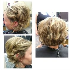 Short hair updo. Curls. Bridesmaid hair