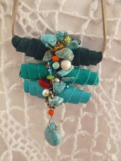 Cocoon necklace made of suede with crystals stones and pearls (Adriana Medeir fabric beads Fiber Art Jewelry, Mixed Media Jewelry, Textile Jewelry, Fabric Jewelry, Boho Jewelry, Jewelry Crafts, Jewelry Art, Beaded Jewelry, Jewelery