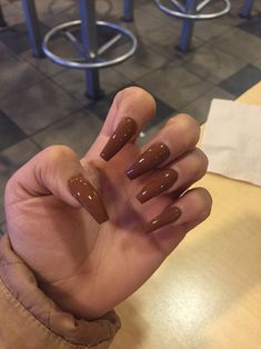 Brown Coffin Nails Uploaded By Amila On We Heart It Coffin Nails coffin nails brown Brown Acrylic Nails, Coffin Nails Glitter, White Coffin Nails, Coffin Nails Long, Brown Nails, Cute Acrylic Nails, Gel Nails, Pink Coffin, Nude Nail Polish For Dark Skin