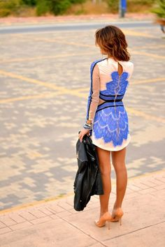 A Perfect Blue And White Lace Little Dress With Black Leather Jacket - fabulous and classy outfit for an evening out.