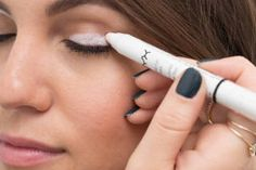 Cover eye in white eyeliner before adding eyeshadow to make colour pop