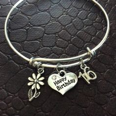 Happy 16th Birthday Expandable Charm Bracelet Adjustable Bangle Gift (Other Numbers Available)