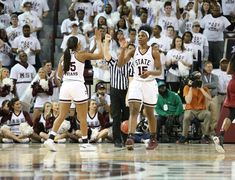 Victoria Vivians and Teaira McCowan during the MSU vs South Carolina game, Feb. 5. MSU won to improve to 24-0.