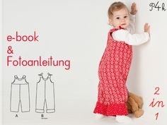 Schnittmuster Junge od. Mädchen Lilli&Bo 2 Modelle von pattern4kids - Schnittmuster für Baby- und Kinderkleider als ebook download oder klassischer Papierschnitt mit Nähanleitung und vielen Bildern auf DaWanda.com