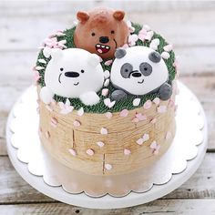 We bare bears Pretty Cakes, Cute Cakes, Beautiful Cakes, Amazing Cakes, Happy Birthday Cake Topper, Happy Birthday Cakes, We Bare Bears Wallpapers, Kawaii Dessert, Bear Party