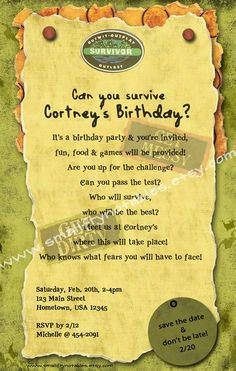 survivor personalized theme party printable invite by www.smallfrynotables.etsy.com: