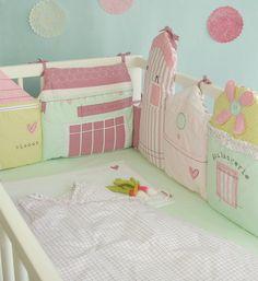 tour de lit pastel forme petites maisons pour lit bébé 60 x120 ou 70x140 cms