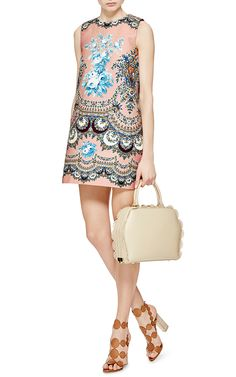 Russian traditional floral pattern used in Printed Shift Dress by MSGM - Moda Operandi.