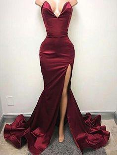 8f42b6c2aaa Sexy V Neck Maroon Side Slit Mermaid Long Evening Prom Dresses