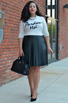 Girl With Curves: {Faux} Leather- I want the this outfit... I want it... I WANT it... I WANT IT!!!!