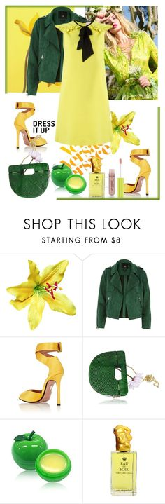 """""""Untitled #1636"""" by misaflowers ❤ liked on Polyvore featuring Versace, River Island, Samuele Failli, TONYMOLY and Shiseido"""