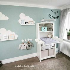 Wall design of baby room boy - Baby room - Kinderzimmer Baby Room Boy, Baby Room Decor, Nursery Room, Girl Nursery, Girl Room, Girls Bedroom, Clouds Nursery, Baby Bedroom Ideas Neutral, Room Boys