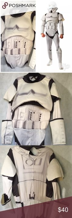 StormTrooper Men's Halloween Costume Includes:  -Padded Jumpsuit With Attached Armor And Boot Tops  -Plastic Mask  -Necklace    Size Small Fits 34-36 Jacket Size  Size Medium Fits 38-40 Jacket Size Rubie's Other