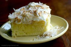 Coconut Cream Cheese Cake. This cake is dense ilke a pound cake but much more moist.  And  with the coconut cream as an ingredient it makes this cake Coconut Heaven!