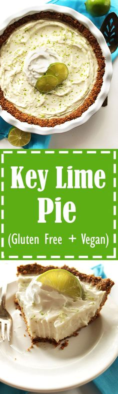 Gluten Free Key Lime Pie - Creamy filling that's sweet and tart with a simple oat and almond crust. This recipe is EASY to make. We love this dessert in the summertime! Vegan/Gluten Free/ refined sugar free.