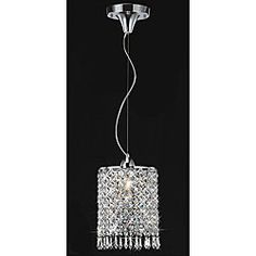 Chrome/ Crystal 1-light Mini Pendant Round Chandelier | Overstock.com Shopping - Great Deals on Chandeliers & Pendants
