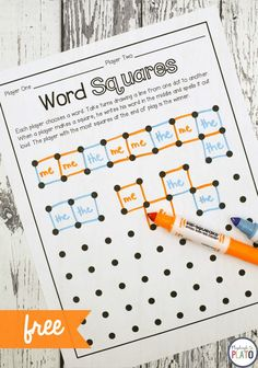 Free sight word game: Word Squares! A fun way for kids to work on sight words, CVC words or even names! Perfect for literacy centers with first and second grade kids! #firstgrade #playdoughtoplato #secondgrade #literacycenters