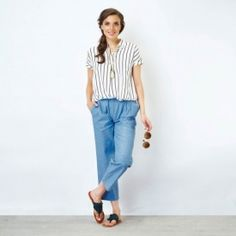 Striped Cap Sleeve Shirt from THELABELLIFE