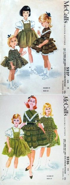 McCall's 5527 and 5526 by Helen Lee © Cute Little Girl Dresses, Vintage Girls Dresses, Cute Little Girls, Vintage Outfits, Fifties Fashion, Retro Fashion, Kids Fashion, Vintage Fashion, Childrens Sewing Patterns