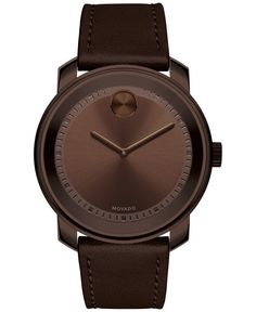 Gleaming brown tones in leather and steel highlight Movado's craftsmanship and design in this Bold timepiece. | Brown leather strap | Round brown ion-plated stainless steel case, 43mm | Brown dial wit