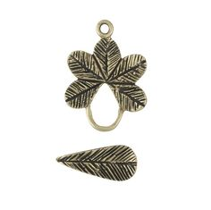 Bronze Antique-Finish Flower Toggle Clasp