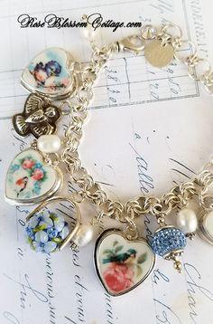6d14cbd6d For the Birds Broken China Jewelry Sterling Multi Sterling Charm Bracelet