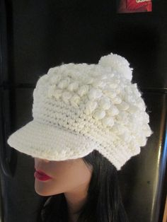 Vintage White Slouchy Knit Cap by MISSVINTAGE5000 on Etsy, $22.00