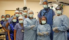 NBA player Pau Gasol observes a surgery in the #OR. Yeah, he's the tall guy :)
