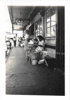Vintage Old 1940 Photo Street Vendors Tailor Shop Sign Philippines Woman Baskets