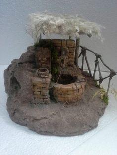 Foro de Belenismo - Miniaturas, detalles y complementos -> miniaturas y complementos realizados Christmas Village Display, Christmas Villages, Fairy Fountain, Foam Carving, Gnome Door, Christmas Manger, Medieval Houses, Farm Art, Modelos 3d