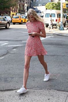 Street style | Red floral mini dress and white Adidas sneakers