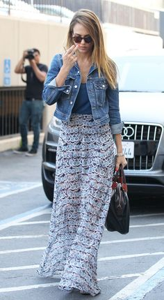 Love everything about this. flowy skirt with fitted top. I like to wear my jean jacket a lot too.
