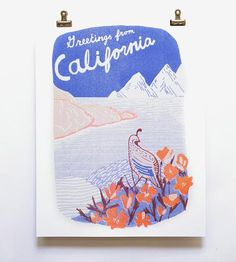 Greetings From California Risograph Art Print by Yellow Owl Workshop on Scoutmob