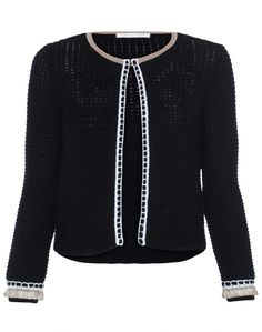 Paule Ka's black open-weave cardigan with intricate crochet and raffia trim is an elegant, modern piece to wear day or night. Wear yours over a white tee and jeans during the day and simply throw it over a sleek cocktail dress for a chic evening ensemble.