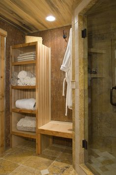 This was a fun project that incorporated rustic elements into a beautiful bathroom.