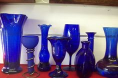 Lot of Cobalt Blue Glass Vases   eBay