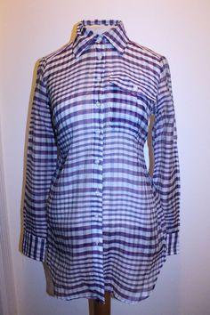 New York & Company Top XS Purple Plaid Silk Blend Button Down Tunic Blouse #NEWYORKCOMPANY #Tunic #CasualCareer