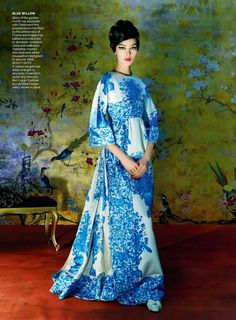 """Go East"": Fei Fei Sun in China-Inspired Fashion from the Met Costume Institute Show by Steven Meisel for US Vogue May 2015"