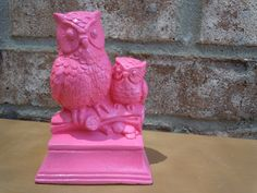 upcycled twin owls hot pink home decor retro mod bright housewares kitsch cottage chic shabby chic. $18.00, via Etsy.